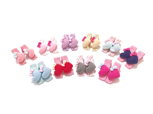 Frosted Love-Heart Clip Pack
