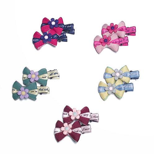 Mini Flower Bow Clip Pack