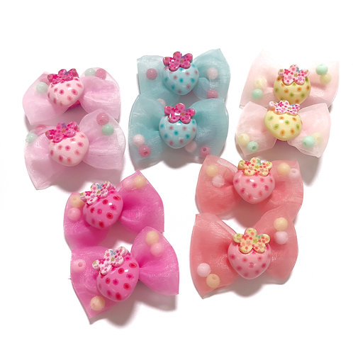 Strawberry Bow Clip Pack