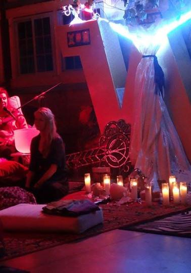 Karyna SH'ha giving sound and light Summer Solstice Ceremony Catskills N.Y 2015