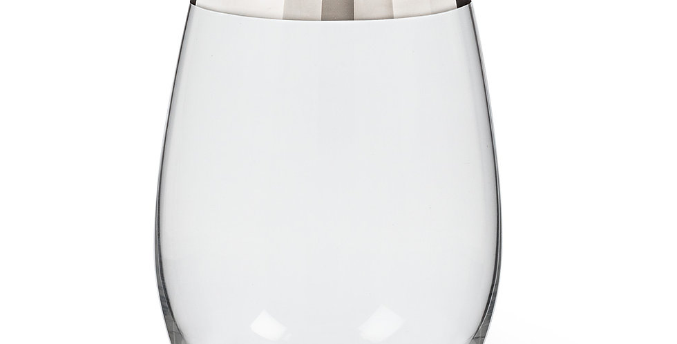 SILVER BAND STEMLESS GOBLET