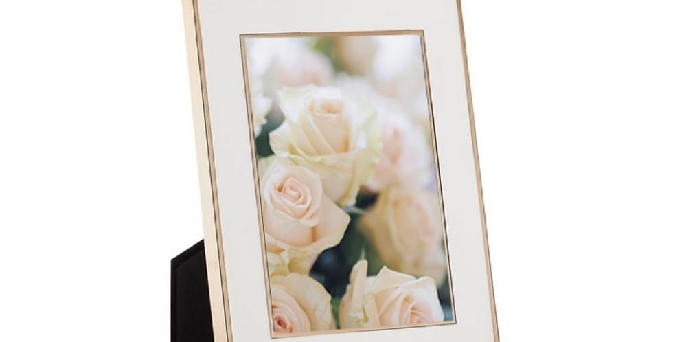 REGIS GOLD & WHITE ENAMEL FRAME ~ 5 x 7