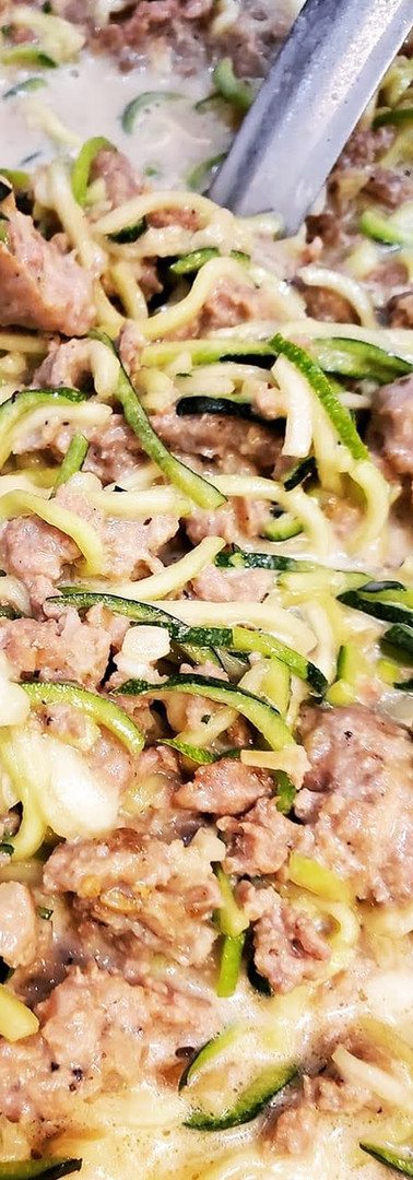 French Onion Sausage Zoodles