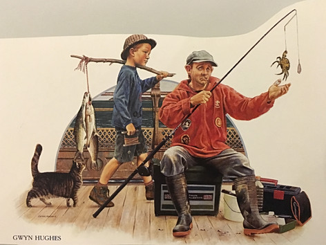 'A fishermans tale'. - based on the style of Norman Rockwell
