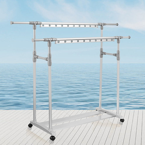 Double Pole, Aluminum, Retractable standing clothesline