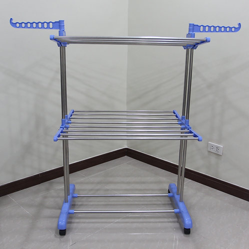 2 Layer Stainless Steel, Foldable, Standing Clothes Rack