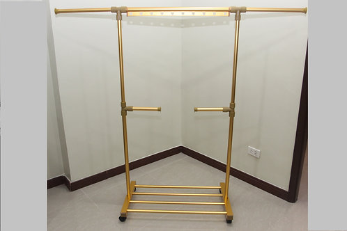 Single Pole, Retractable, Standing clothes rack