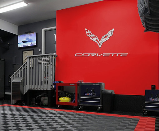 CORVETTE C7 Emblem and Text combo Garage Sign 8 Feet Wide Brushed Silver