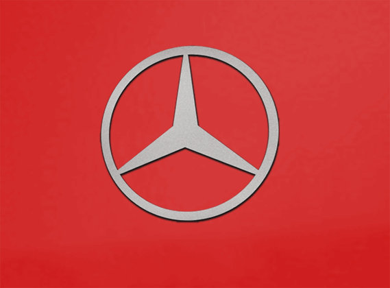 Mercedes Benz Star Logo 2 foot x2 foot Brushed S