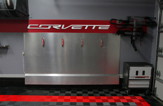 CORVETTE C7 Garage Sign 8 Feet Wide Brushed Silver