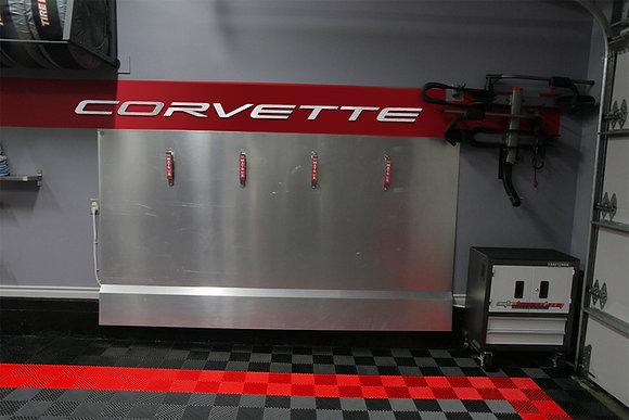 CORVETTE C8 Garage Sign 8 Feet Wide Brushed Silver