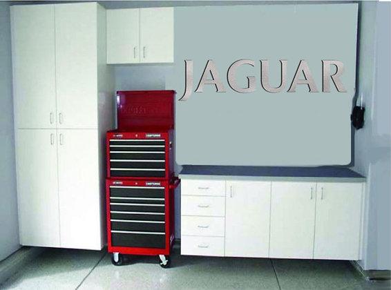 Jaguar Garage Sign 4 Feet Long Brushed Silver