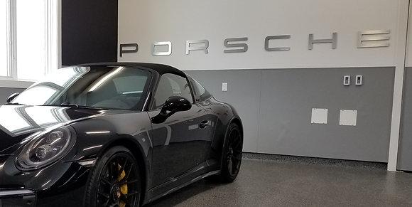 Porsche Garage Sign 9 Feet Long Brushed Silver