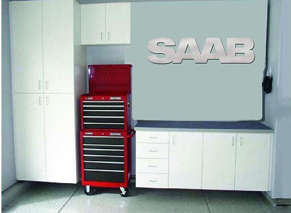 SAAB Garage Sign 4 Feet Long Brushed Silver