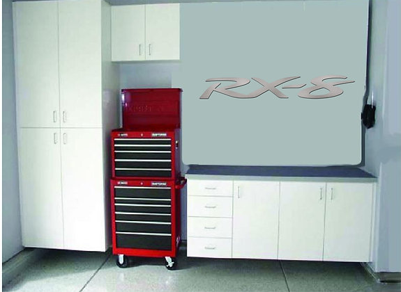 RX-8 Garage Sign 5 Feet Long Brushed Silver
