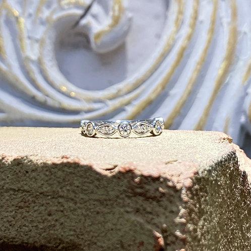 14k White Gold Diamond Wedding Band .60ct