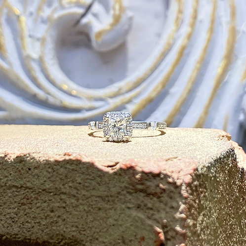 10k Princess Diamond Halo Engagement Ring