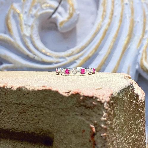 10k White Gold Diamond and Ruby Wedding Band