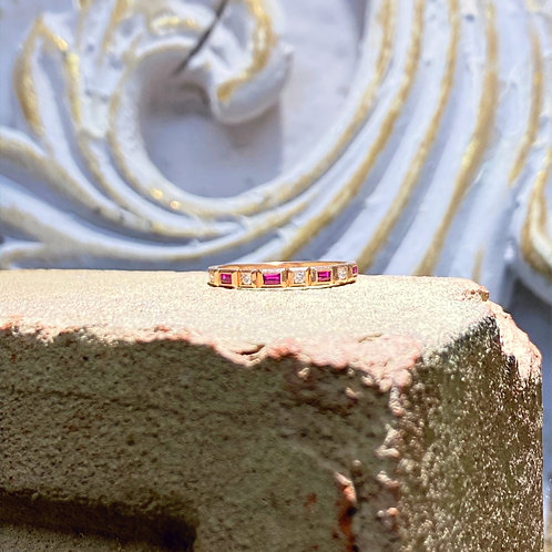 10k Rose Gold Diamond and Ruby Wedding Band