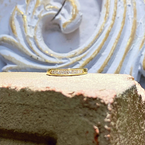 14k Yellow Gold Diamond Princess Wedding Band .50ct