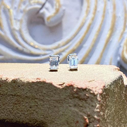1.01 ct Emerald Cut Diamond Stud Earrings