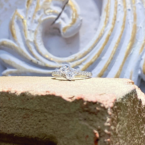 14k White Gold Diamond Ring .75ct