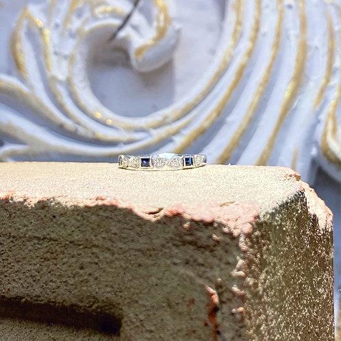 10k White Gold Diamond and Sapphire Wedding Band
