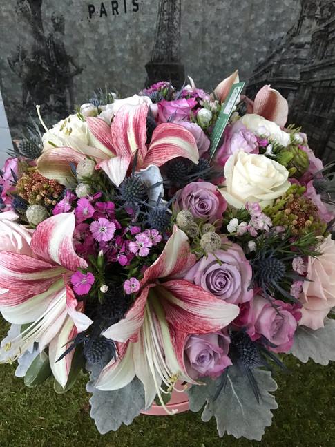 Hat box flower arrangment