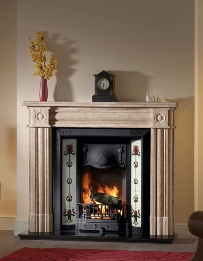 Regent Travertine marble surround with tiled insert.JPG