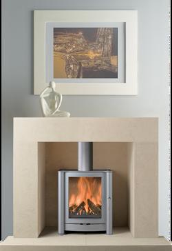 Bauhaus Bath Stone Fireplace