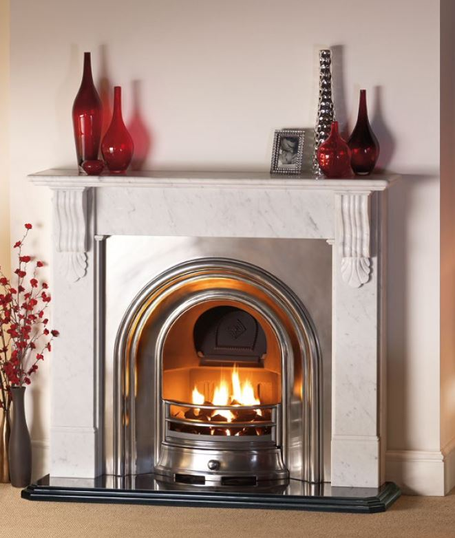 Sandringham Carrara marble surround & polished arch