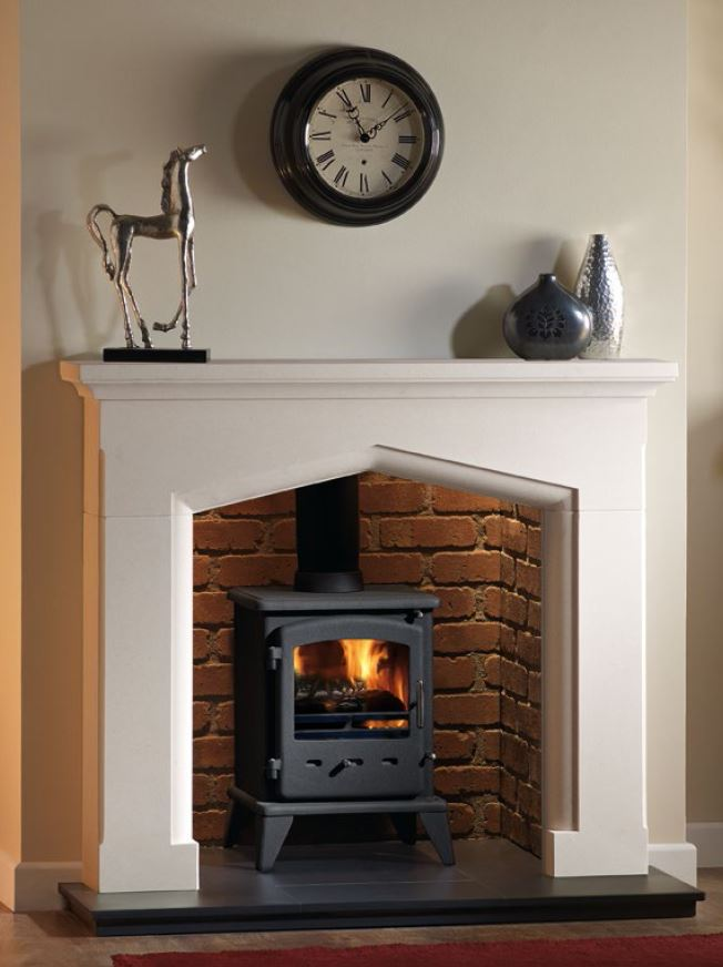Swinford 48 limestone surround with Sirius Original stove