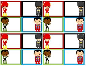 superhelden labels feest - theme kinderfeestjes thuis - themakisten