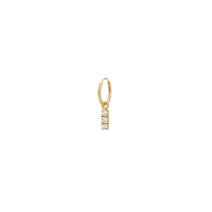 Single Zirconia String Ring Earring Goldplated