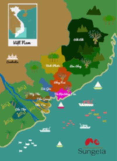 ベトナムのカカオ分布図