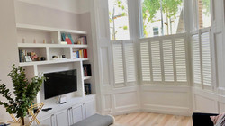 Cafe style Hardwood shutters pure white