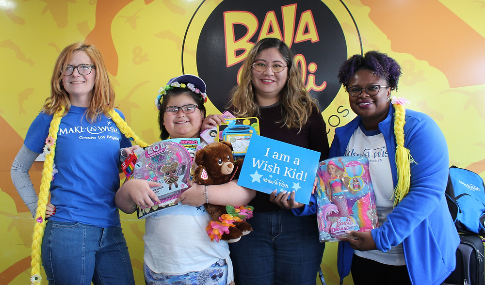 Toys, Gifts and surprises at favorite Mexican food location Baja Cali with Make-A-Wish foundation