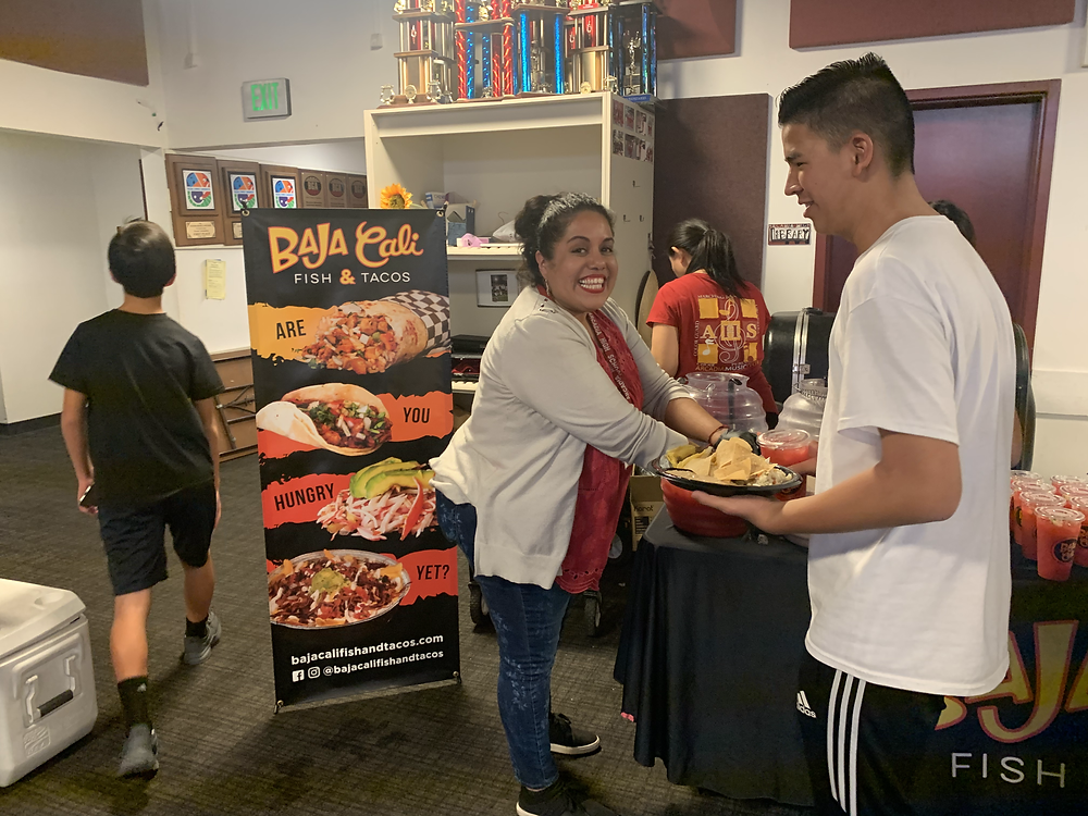 Mexican food catering for hungry kids at Santa Anita Mall