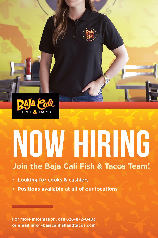 Now Hiring image - Employee wearing shirt wiht Baja Cali logo