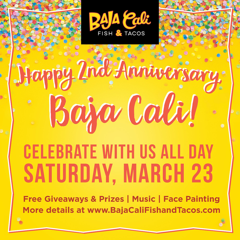 Happy Second Anniversary Baja Cali Fish and Tacos flyer - Giveaways, prizes, music and face painting