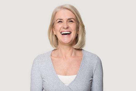Head shot portrait overjoyed blond middl