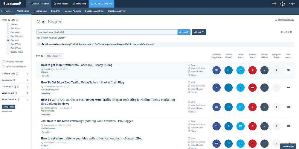 6 Useful Things You Need To Do Now To Increase Blog Traffic - BuzzSumo - Yes To Tech