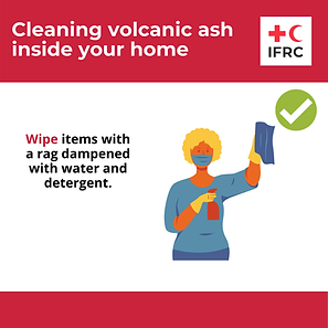 Cleaning volcanic ash inside - wipe item