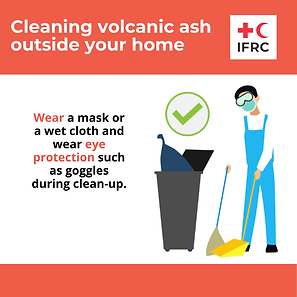 Cleaning volcanic ash - Wear a Mask or w