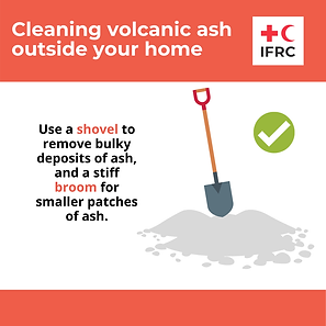 Cleaning volcanic ash - Use a Shovel.png