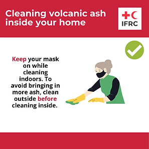 Cleaning volcanic ash - Keep you mask on