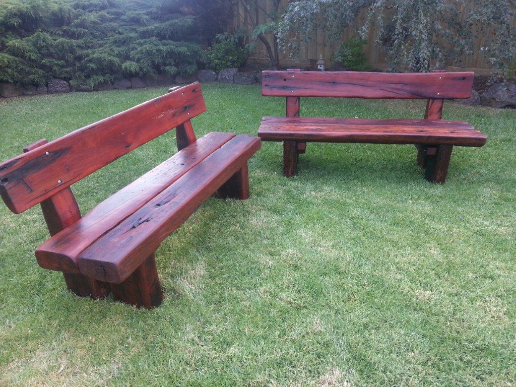 Custom Red Gum Bench Seats With Backrests | One Red Deer Outdoor Garden  Bench Seats And Clutchbags Australia