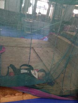 蚊帳の中でねむる赤ちゃん