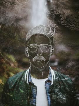 nature man with mustache creative portrait