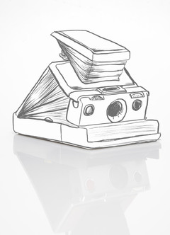 camera product shot with line drawing